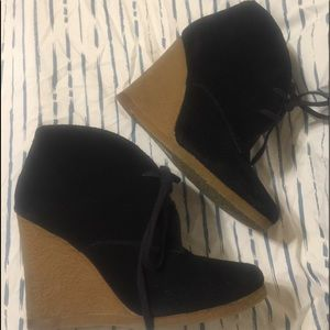ALDO black suede wedge bootie -lace-up